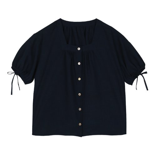 iuw412 Sleeve string blouse (navy)