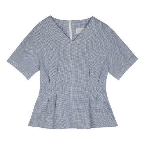iuw410 Waist laced small check blouse (blue)