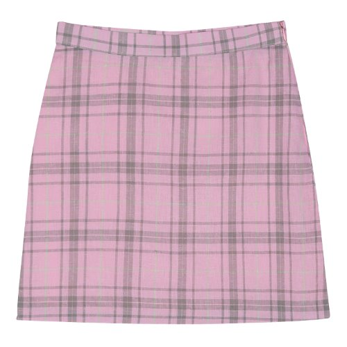iuw368 Linen check skirt (pink)