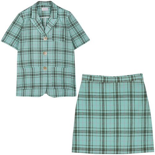 [Set2] Short sleeved jacket+Check skirt (mint)
