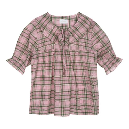 iuw439 Frill ribbon checked blouse (pink)