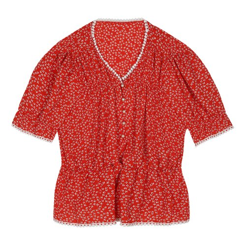iuw426 Flower printed lace blouse (red)
