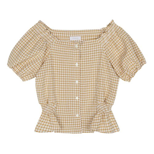 iuw436 Shoulder smoked check blouse (yellow)