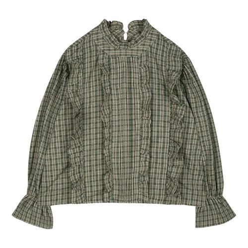 iuw484 china collar checked frill blouse (green)