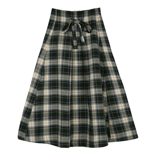 iuw453 ribbon checked skirt (green)
