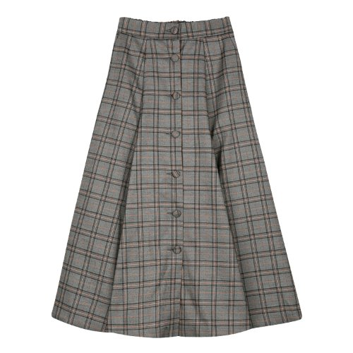 iuw454 long flared skirt (check)