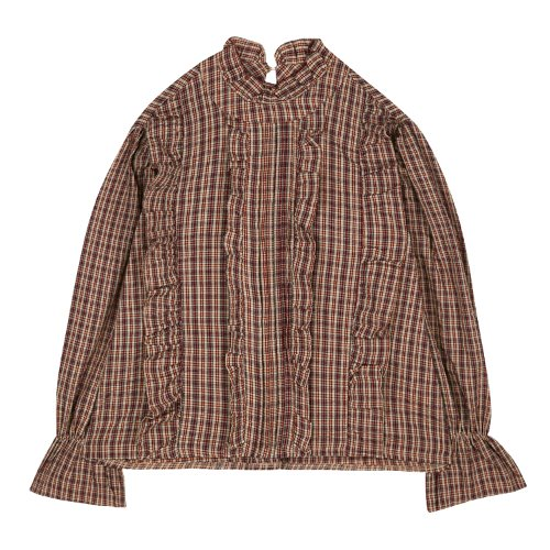 iuw485 china collar checked frill blouse (wine)
