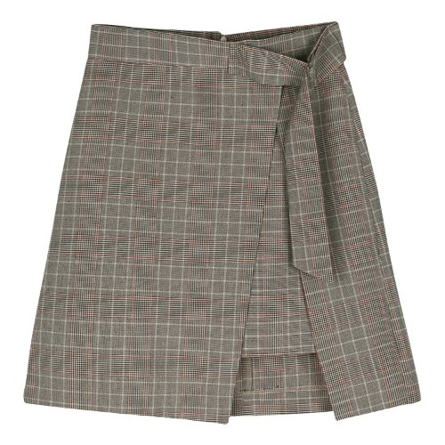 iuw452 check wrap skirt