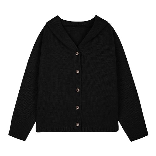 iuw527 hoody button cardigan (black)