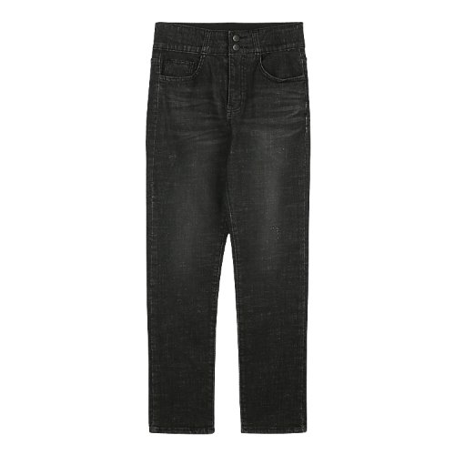 iuw534 slim highwaist double button pants (black)