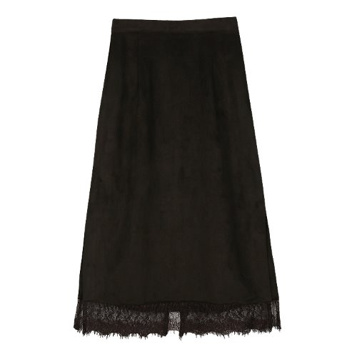 iuw530 H-line suede lace skirt