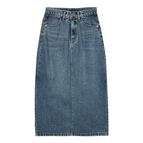 iuw532 slit denim long skirt (medium blue)