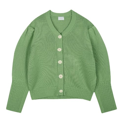 iuw550 puff V neck cardigan (green)