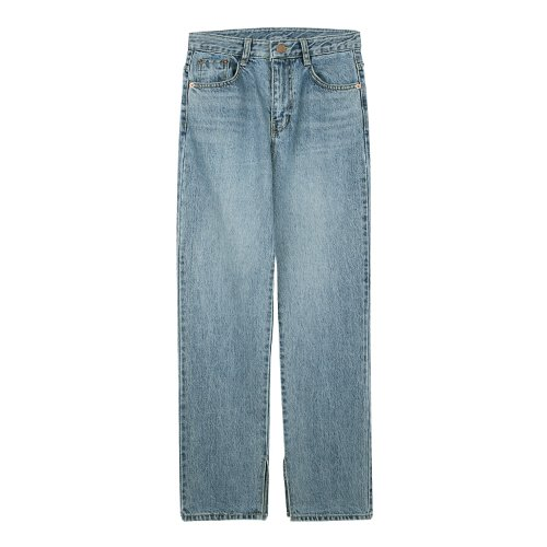 iuw538 side cut long denim jeans (light blue)