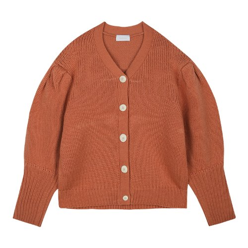 iuw549 puff V neck cardigan (orange)