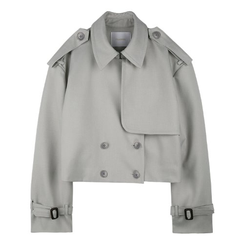 iuw651 cropped trench jacket (lightgrey)