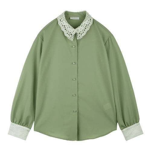 iuw644 collar laced blouse (green)