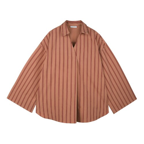 iuw646 turnup cuffs stripe shirts (brick)