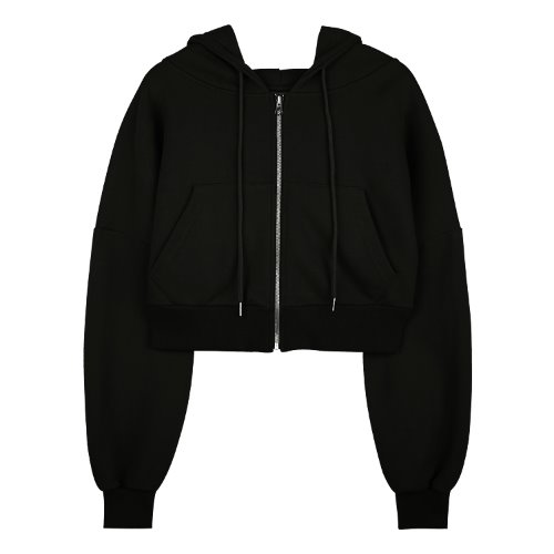 iuw624 flow hoody zip up (black)