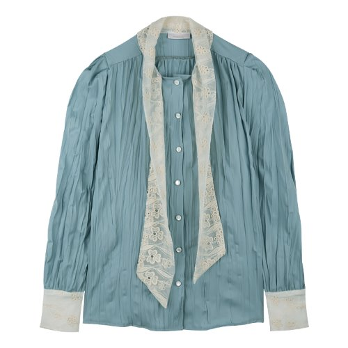 iuw649 scarf wrinkle blouse (skyblue)