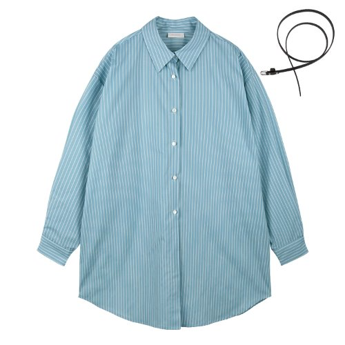 iuw628 boxy stripe belted shirts (skyblue)