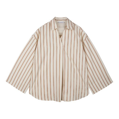 iuw645 turnup cuffs stripe shirts (ivory)
