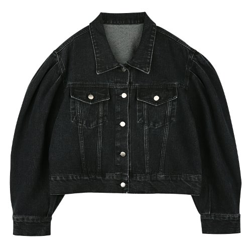 iuw656 puff denim jacket (black)