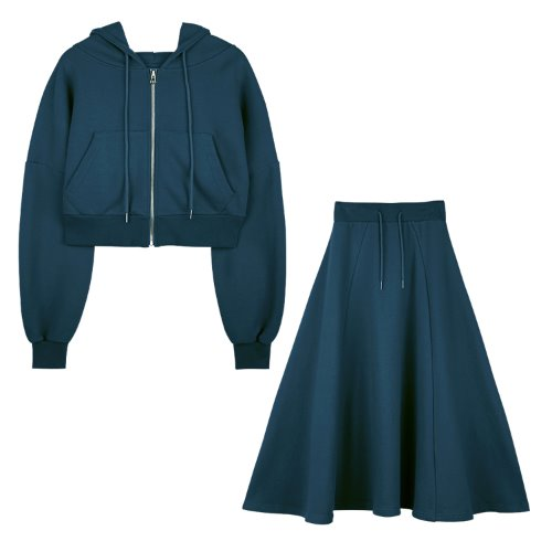 [셋트]iuw597 flow hoody zip up+flow long skirt (deepblue)