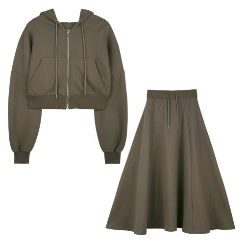 [셋트]iuw598 flow hoody zip up+flow long skirt (brown)