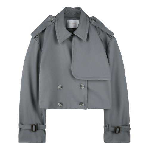 iuw652 cropped trench jacket (charcoal)