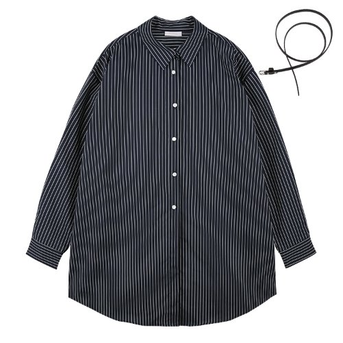 iuw627 boxy stripe belted shirts (navy)