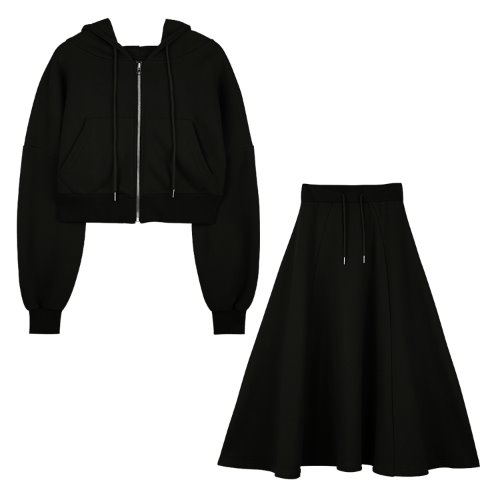[셋트]iuw596 flow hoody zip up+flow long skirt (black)