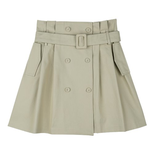 iuw602 trench double belted skirt (beige)