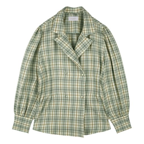 iuw642 smokebanding check blouse (mint)