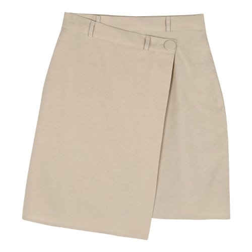 iuw665 unbalance button skirt (beige)