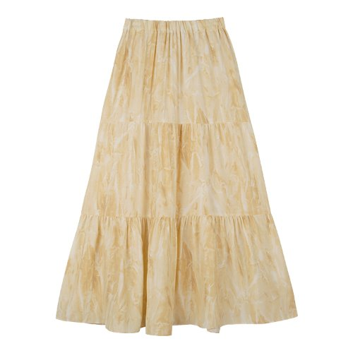 iuw663 watery printing skirt (yellow)
