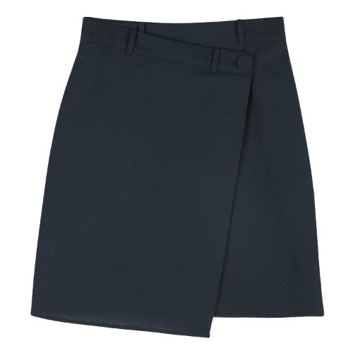 iuw664 unbalance button skirt (navy)
