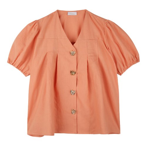 iuw679 heart button point blouse (apricot)
