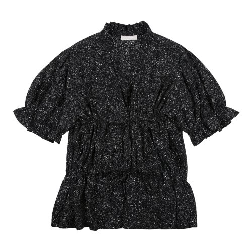 iuw696 double string frill blouse (darknavy)