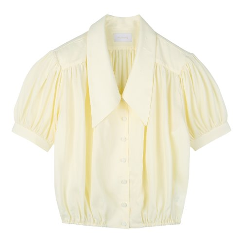 iuw692 big collar string blouse (yellow)
