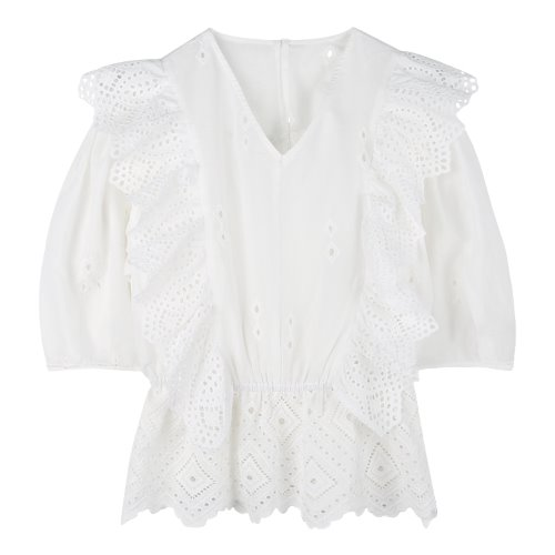 iuw698 punching laced blouse (white)