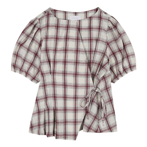 iuw685 waist string check blouse (check)