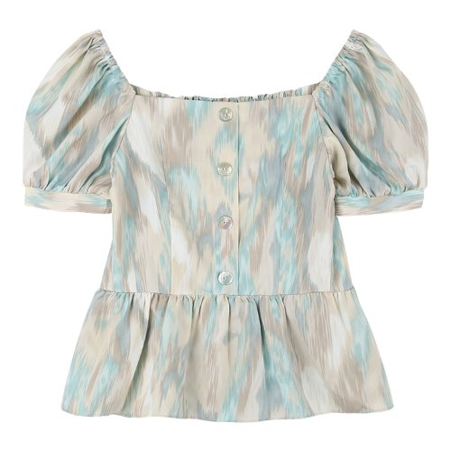 iuw699 square neck button blouse (skyblue)