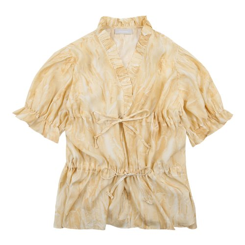 iuw697 double string frill blouse (yellow)