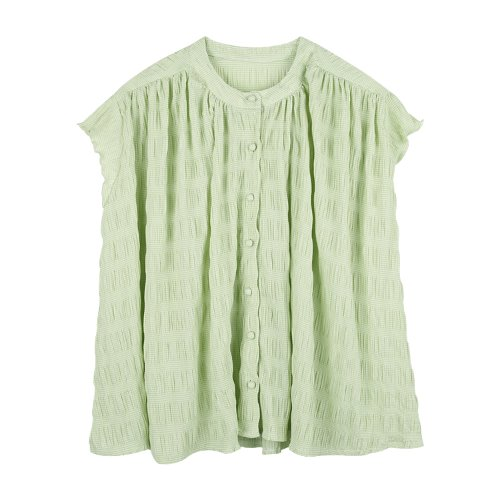 iuw736 belted check sleeveless blouse (green)