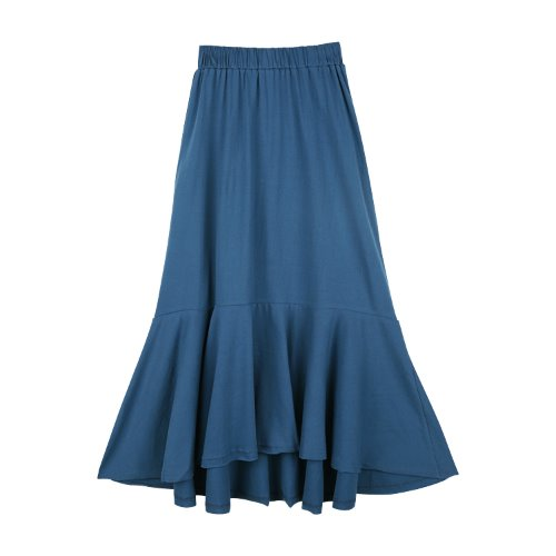 iuw776 cotton banding flare skirt (blue green)