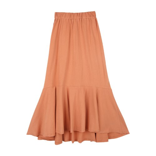 iuw775 cotton banding flare skirt (brick)