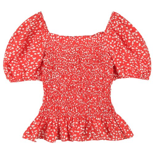 iuw762 smoke banded puff blouse (red)