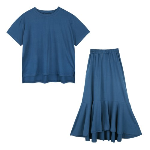 iuw712 [셋트] loosefit half T + banding flare skirt (bluegreen)