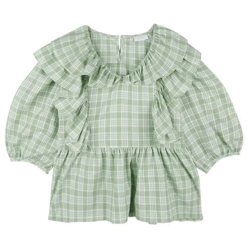 iuw754 pastel check frill blouse (green)